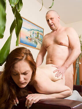 Alina is really proud of her round ass and she knows what a lucky fucker this old goes young guy is when he gets to see her cheeks naked and spread wa